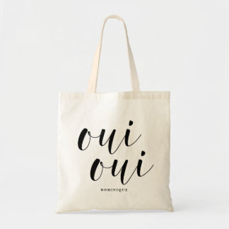 Oui Oui Black Modern Calligraphy Personalized Tote Bag