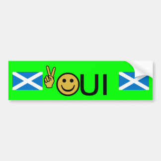 Oui Peace Smiley Scottish Independence Sticker Bumper Sticker