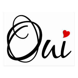 Oui, yes, French word art with red heart Postcard