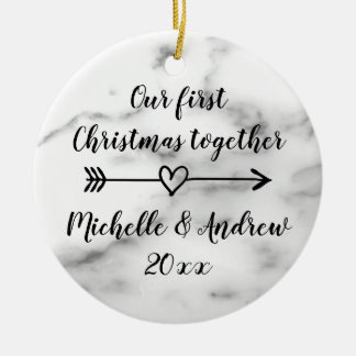 Our 1st Christmas together marble print custom Ceramic Ornament