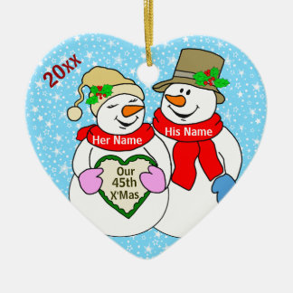 Our 45th Christmas Ceramic Heart Ornament