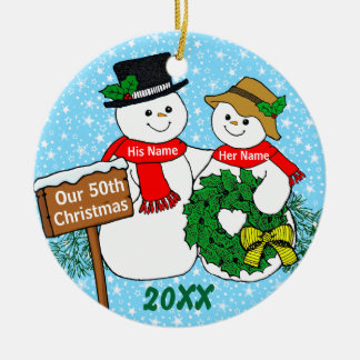 Our 50th Christmas Ceramic Ornament