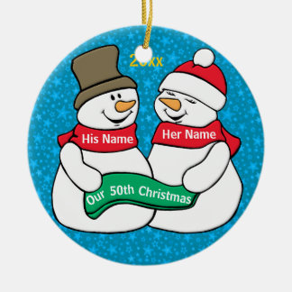 Our 50th Christmas Round Ceramic Ornament