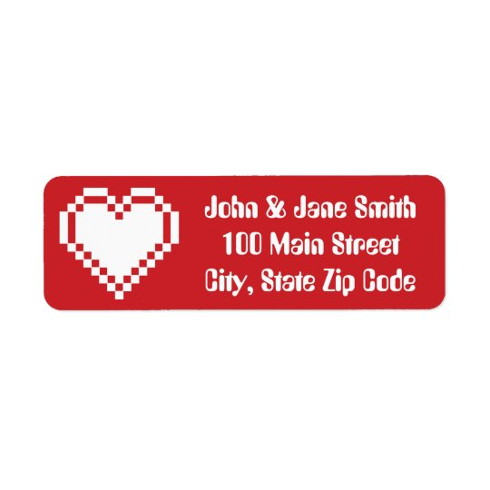 Our 8-Bit Hearts in Cherry Return Address Label