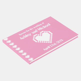 Our 8-Bit Hearts in Petal Pink Guest Book
