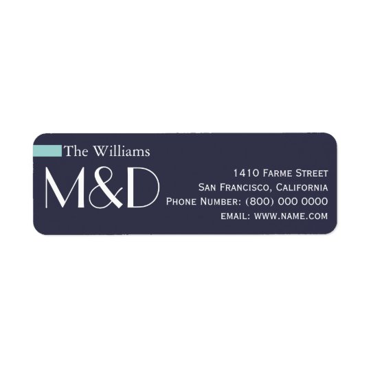 our address, monogrammed blue return address label