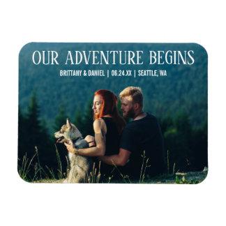 Our Adventure Begins Engagement Photo Magnet WT