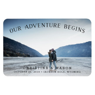 Our Adventure Begins | Save the Date Rectangular Photo Magnet