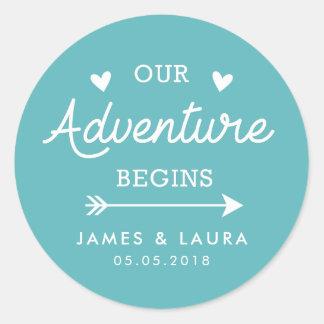 Our adventure begins turquoise wedding sticker