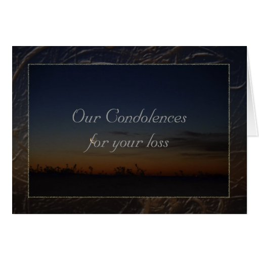 Our condolences greeting card