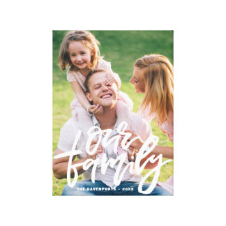 Our Family Hand Lettered Script Personalized Canvas Print