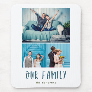 Our Family | Modern Three Photo Grid Mouse Pad