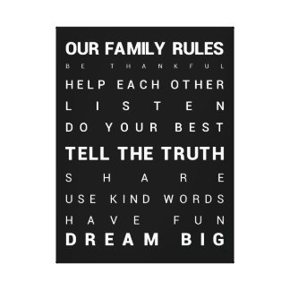 """Our Family Rules - 18"""" x 24"""" Canvas Print"""