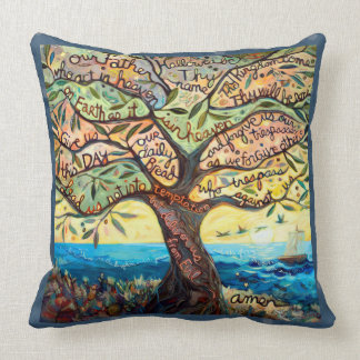 Our Father (Lord's Prayer) Olive Tree Pillow