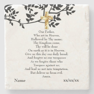 Our Father Prayer Catholic Gift Personalized Stone Coaster