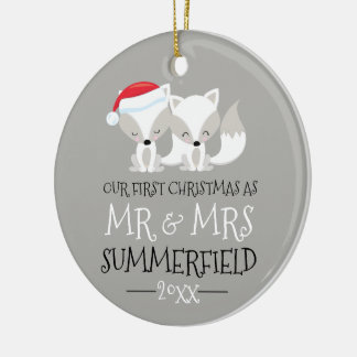 Our First Christmas Arctic Fox Personalized Ceramic Ornament