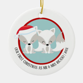 Our First Christmas Arctic Foxes Personalized Ceramic Ornament