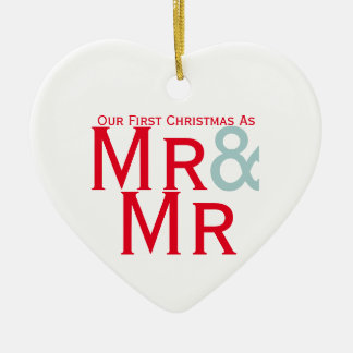 Our First Christmas as Mr and Mr Gay Themed Ceramic Heart Ornament