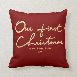 Our First Christmas as Mr. & Mrs.   For Newlyweds Throw Pillow