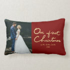 Our First Christmas as Mr. & Mrs. |Newlywed Photo Lumbar Pillow