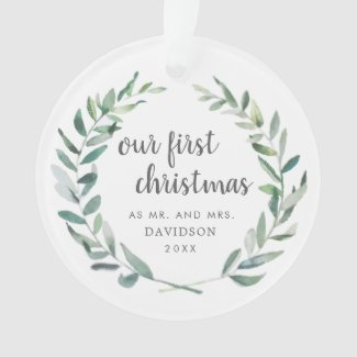 Our First Christmas As Mr. & Mrs. | Newlywed Photo Ornament