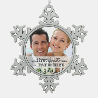 Our First Christmas as Mr & Mrs Snowflake Ornament