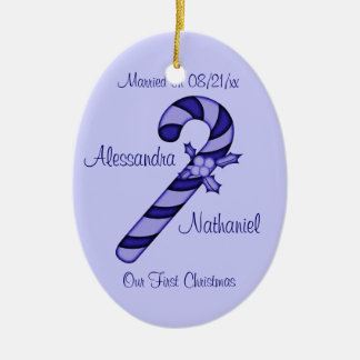 """""""Our First Christmas"""" - Blue Striped Candy Cane Ceramic Oval Ornament"""