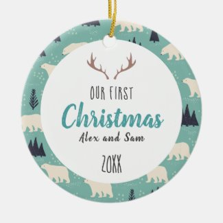 Our First Christmas Blue Winter Ceramic Ornament