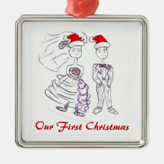 Our First Christmas/Bride & Groom Metal Ornament