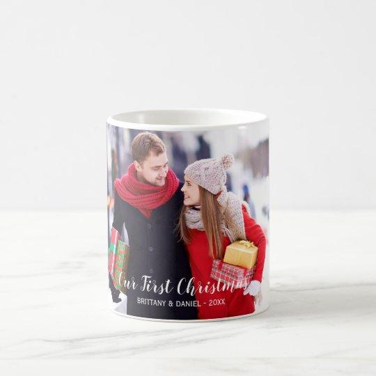 Our First Christmas Couple Photo Coffee Mug