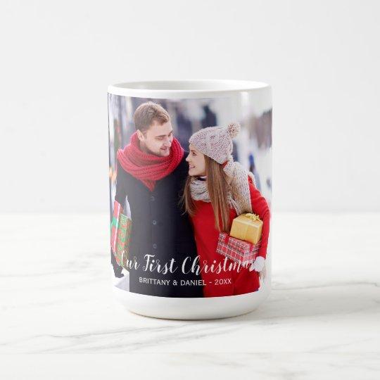 Our First Christmas Couple Photo Large Coffee Mug
