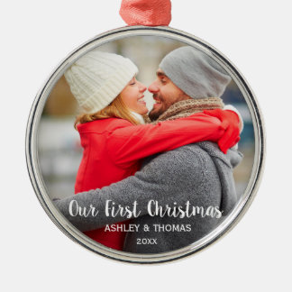 Our First Christmas Couple Photo Modern Round Metal Ornament
