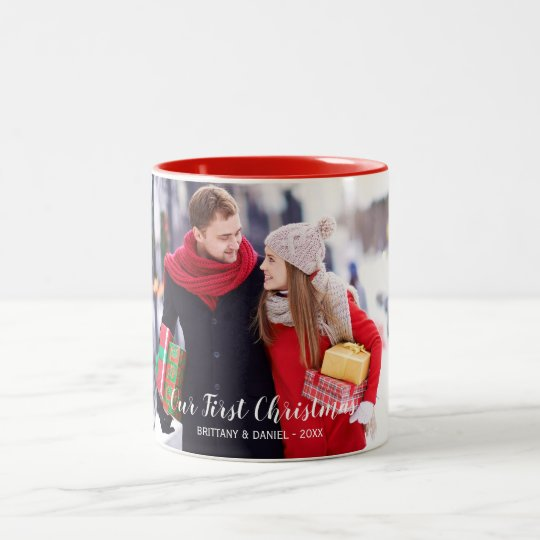 Our First Christmas Couple Photo Red White Two-Tone Coffee Mug