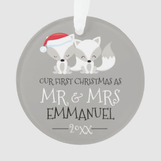 Our First Christmas Cute Arctic Fox Personalized Ornament