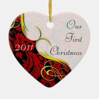 Our First Christmas Damask Ceramic Ornament