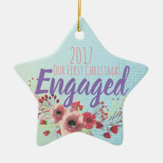 Our First Christmas Engaged Ceramic Ornament