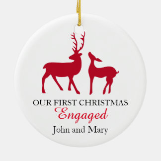 Our first Christmas Engaged ornament, love deers Round Ceramic Ornament