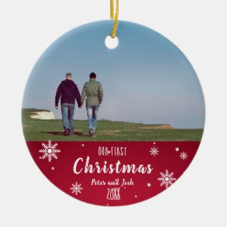 Our First Christmas gay couple Ceramic Ornament