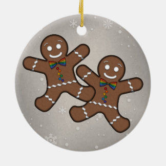 Our First Christmas Gingerbread Couple Gay Pride Round Ceramic Ornament