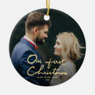 Our First Christmas | Hand-Lettered Christmas Ceramic Ornament