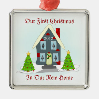 Our First Christmas In New Home Holiday Silver-Colored Square Ornament