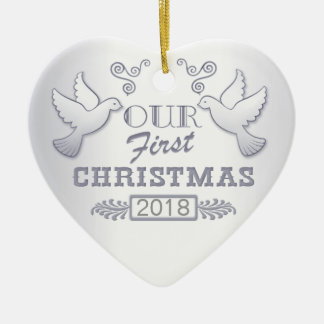 Our First Christmas Lovebirds Ceramic Ornament