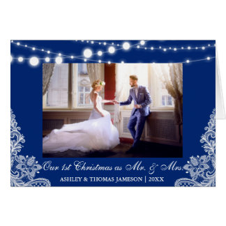 Our First Christmas Mr. & Mrs. Photo Card Blue