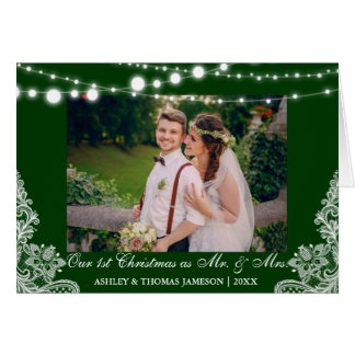 Our First Christmas Mr. & Mrs. Photo Card Green