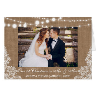 Our First Christmas Mr. & Mrs. Rustic Photo Card