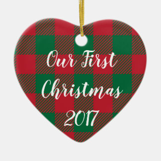 Our First Christmas Ornament in Buffalo Plaid
