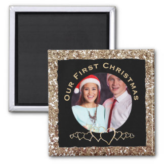 Our First Christmas Photo Hearts Glitter Magnet