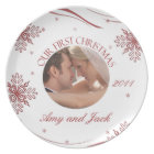 Our First Christmas Photo Plate Red & White Snowfl