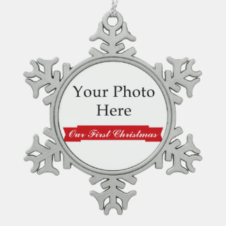 Our First Christmas Photo Snowflake Pewter Christmas Ornament