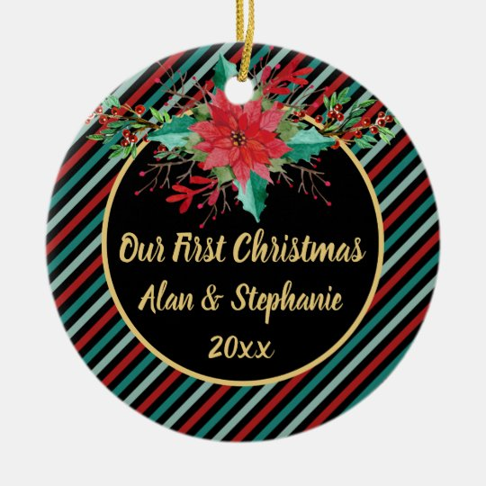Our First Christmas Poinsettia Floral Stripes Ceramic Ornament